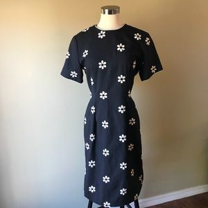 Vintage Navy Midi Shift Dress Embroidered Flowers